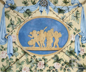Painted panel by Lady Diana Beauclerk, eighteenth century