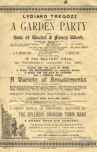 Handbill advertising a Garden Party at Lydiard Park, 1887