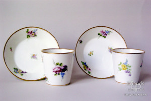 Vincennes porcelain beakers and saucers, eighteenth century