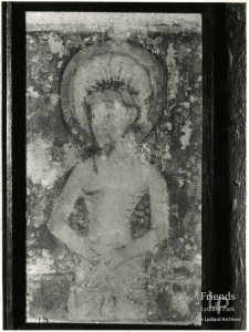 Photographs (2) of Christ figure wall painting at St. Mary's Lydiard Tregoze, 1961