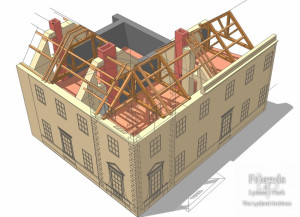 Architectural 3D drawing of Lydiard House showing roof construction