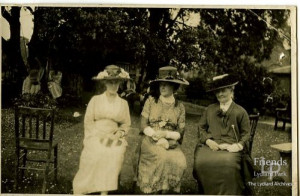 Photograph of 5th Viscountess Bolingbroke and two ladies at garden party, early 20th Century
