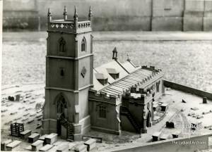 Photographs (2) of c1840 model of St. Mary's Lydiard Tregoze, 1961
