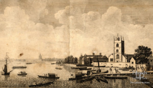 Engraving of Battersea Church and manor house, 1752