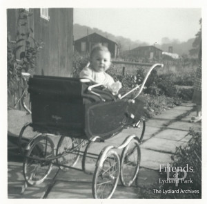 Photographs (3) of Pauline Bowler in her pram at No 8a Lydiard Park