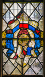 Medieval glass at St. Mary's Lydiard Tregoze: Virgin Mary and Christ Child