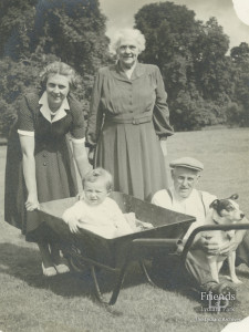 Photograph of Mr and Mrs Gough with their daughter Joyce (Vincent) Lydiard Park, c1950s