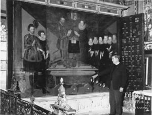 Photograph of Revd. Brian Carne & St. John Polyptych, c1965
