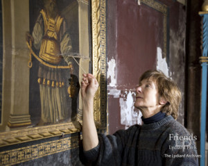 Photographs (6) of Reredos during conservation 2015/16