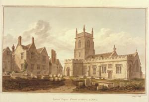 'Lydiard Tregoze Church and House' by John Buckler, 1810