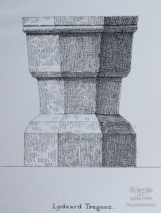 Pen drawing of the font, St. Mary's Lydiard Tregoze by H. Pridham, 1888