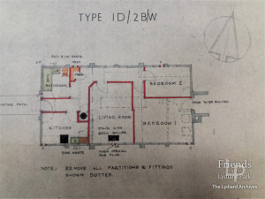 Plan for conversion of military hut to residential dwelling, 1948
