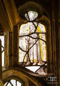 Medieval glass at St. Mary's Lydiard Tregoze: Figure of a man