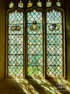 Medieval glass at St. Mary's Lydiard Tregoze: Heraldry and foliage