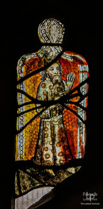 Medieval glass at St. Mary's Lydiard Tregoze: Robed figures