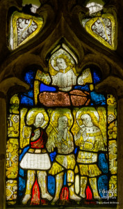 Medieval glass at St. Mary's Lydiard Tregoze: Angel and fiery furnace