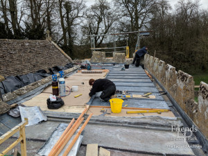 Photographs of building repairs to St. Mary's Lydiard Tregoze, 2019