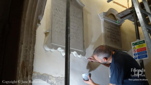 Photographs (2) of conservation at St. Mary's Lydiard Tregoze, 2019