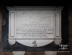 Memorial tablet to Mrs Knight & Revd. Richard Miles, St. Mary's Lydiard Tregoze, 1841