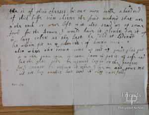 Letter fragment from Lady Johanna St. John to Thomas Hardyman  c1660