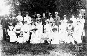 Photograph of owners and workforce outside the dairy at Lower Salthrop Farm c1912