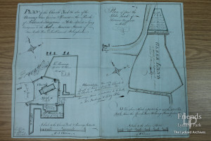 Plan of the Churchyard, Parsonage House & Gardens, 1812