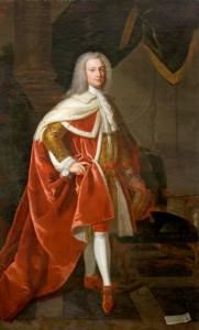 John St John (1702-1748), 2nd Viscount St John, full length in coronation robes